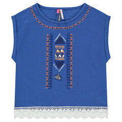 T-shirt met korte mouwen, borduurwerk en crochet