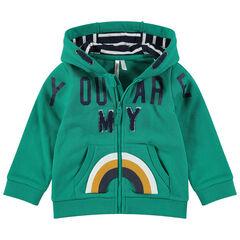 Molton vest met kap, bouclé-opschrift en geprinte regenboog