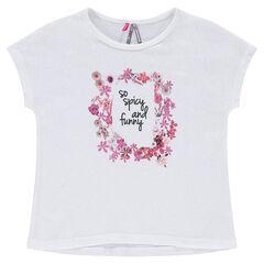 Recht T-shirt met korte mouwen en bloemenprint