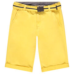 Junior - Bermuda en coton jaune avec ceinture amovible
