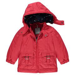 Rode rubberen windstopper met voering uit jerseystof met zakken en afneembare kap