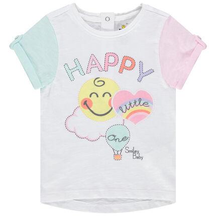 T-shirt met korte mouwen, Smiley en contrasterende mouwen