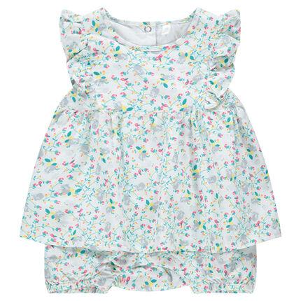 Combinaison courte effet robe à fines fleurs all-over