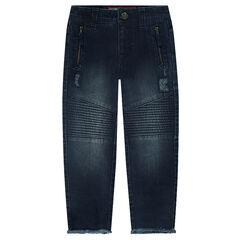 Aansluitende jeans met used effect en zakken met ritssluiting