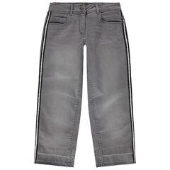 Junior - Grijze jeans met used effect en zilveren stroken