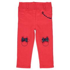 Jegging en jersey rouge avec sertis Minnie brodés et noeuds