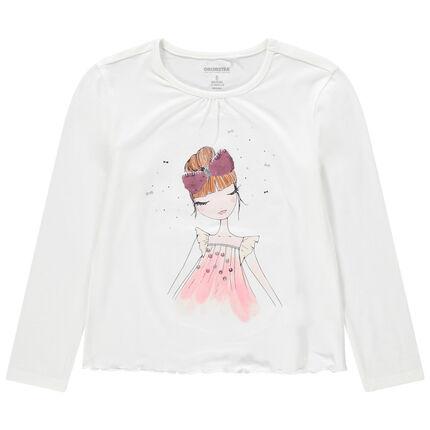 T-shirt met lange mouwen uit jerseystof met meisjesprint en strik van lovertjes