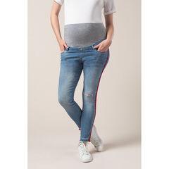 Zwangerschapsjeans met used effect en banden aan de zijkanten