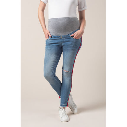 Jean de grossesse effet used avec bandes sur les côtés