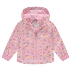 Coupe-vent à capuche doublé jersey avec imprimé géométrique all-over