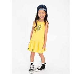 Gele jurk van jerseystof met print van Minnie ©Disney aan de voorzijde