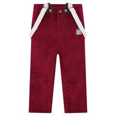 Pantalon en velours ras à bretelles amovibles