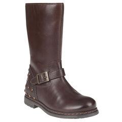 Laarzen in leder gesp in chocolade kleur met stud