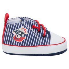 Hoge sneakers uit linnen met print met boot