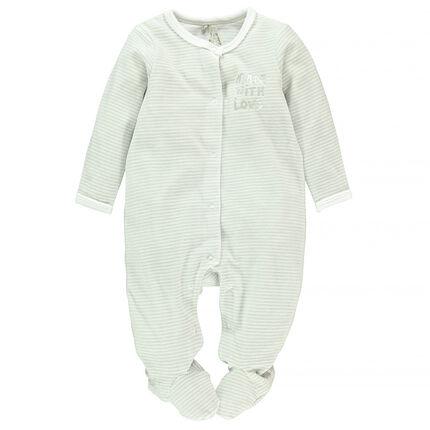 Pyjama in fluweel strepenprint