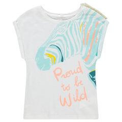 T-shirt met korte mouwen, zebraprint en franjes