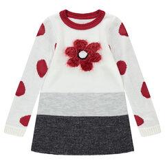 Tricotjurk met lange mouwen met bloem van tricot met haartjeseffect en stippen van jacquard