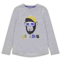 Junior - T-shirt met lange mouwen met oneffen effect en aap van magische lovertjes