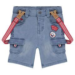 Bermuda en molleton effet jeans used avec bretelles élastiquées
