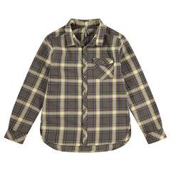 Hemd met lange mouwen, contrasterende ruiten en zak