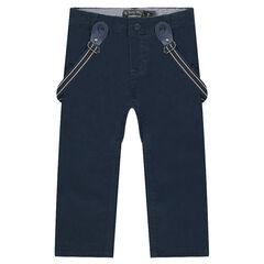 Pantalon en twill à bretelles amovibles
