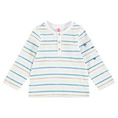 T-shirt met lange mouwen van jerseystof en met contrasterende strepen