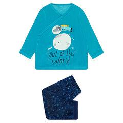 Pyjama van velours met fantasieprint en onderzijde met ruimteprint