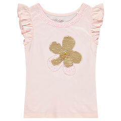 T-shirt met korte mouwen van jerseystof met bloem van magische lovertjes