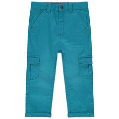 Pantalon surteint bleu en toile avec poches