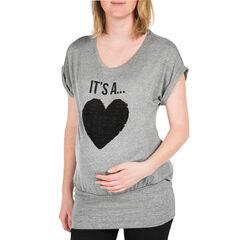 T-shirt korte mouwen voor tijdens de zwangerschap met harten met lovertjes