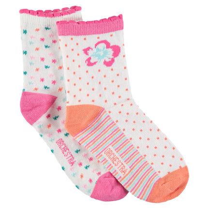 Set met 2 paar sokken met bloemen en jacquardmotief