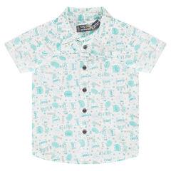 """Hemd met korte mouwen van katoenpopeline met print """"all-over"""""""