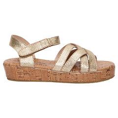 Gouden sandalen met zool met kurkeffect
