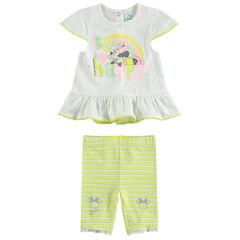 Set met tuniek met Minnie-print en korte legging met strepen
