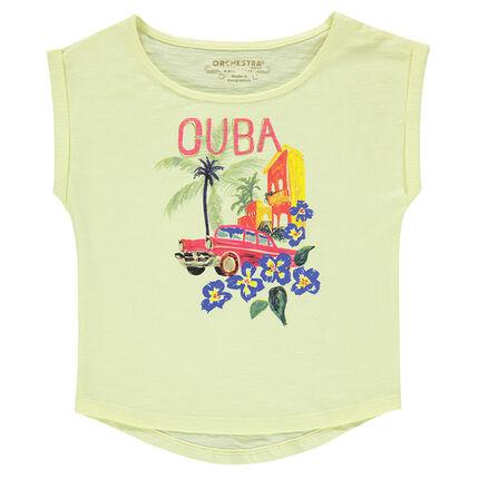 Junior - T-shirt met korte mouwen en fantasieprint uit slub jerseystof