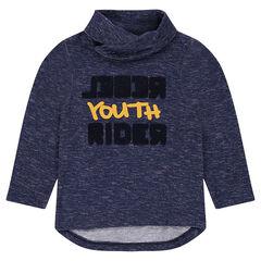 T-shirt met lange mouwen van gemêleerde jerseystof met bouclé- opschrift