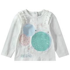 T-shirt met lange mouwen van jerseystof metprint met ballen en ruches