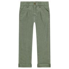 Pantalon en coton fantaisie à plis