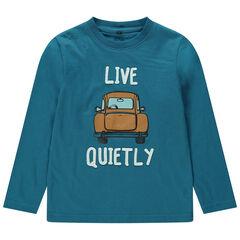 T-shirt met lange mouwen uit jerseystof en met print met auto met decoratieve koffer