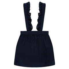 Korte, linnen rok met volants en schouderbandjes