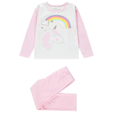Pyjama van velours met geborduurde eenhoorn en regenboog