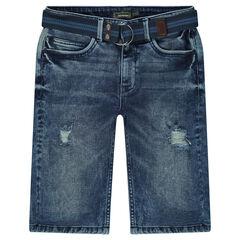 Junior - Jeansbermuda met used effect en afneembare riem