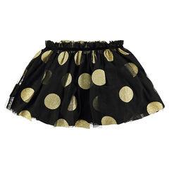Korte rok van tule in tutu-stijl met grote gouden stippen van pailletjes