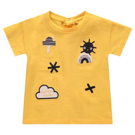Tee-shirt manches courtes en jersey avec symboles et nuages brodés