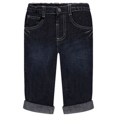 Straight-fit jeans met used en crinkle effect