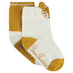 Lot de 2 paires de chaussettes assorties avec motif animal en jacquard