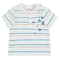 T-shirt met korte mouwen met strepen en met print met vissen