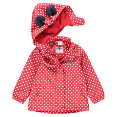 Rubberen windstopper met stippenprint en oren van  Minnie ©Disney