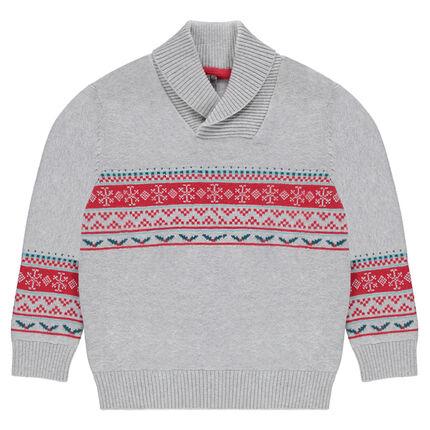 Pull en tricot avec motifs jacquard et col châle