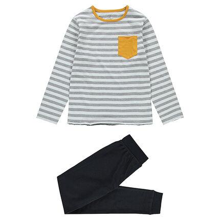 Junior - Pyjama van jerseystof met gestreept bovenstuk en broek met print met tekst